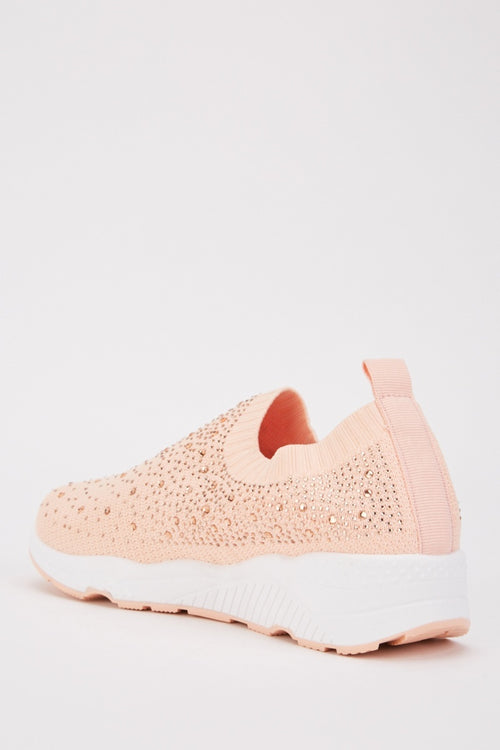 Adwoa Diamante Encrusted Slip On Trainer Shoes