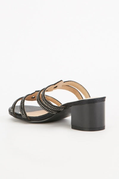 Katie Encrusted Design Strappy Block Heels-Woven Trends