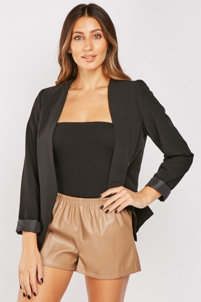 Pammy Faux Leather Latte Shorts-Woven Trends