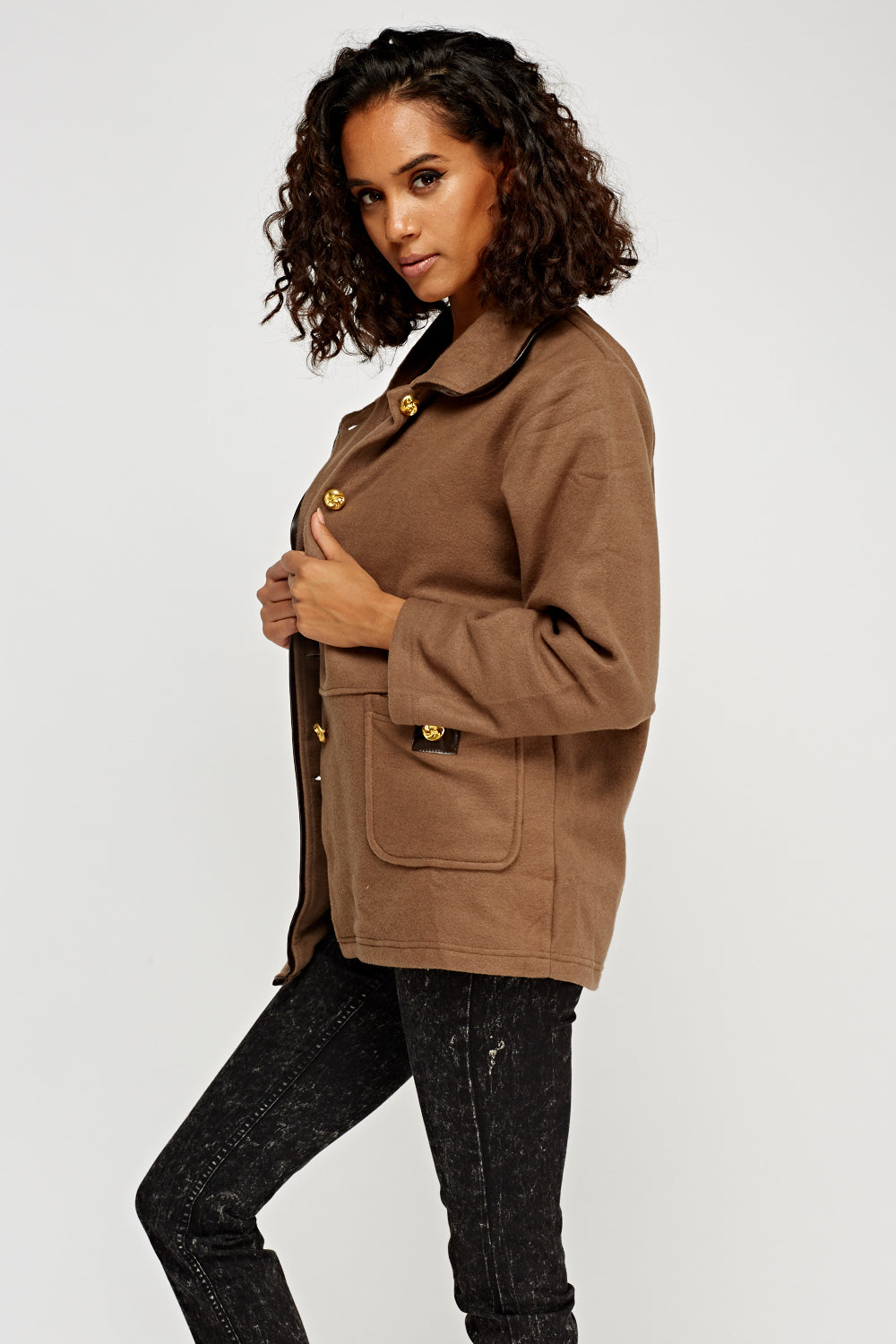 Katie Fleece Look Gold Button Detail Casual Jacket - Woven Trends