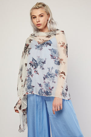 Betty Sheer Floral Print Scarf - Woven Trends