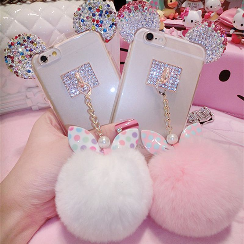 Bunny Ear Fluffy Furball Luxury Phone Case - woven-trends