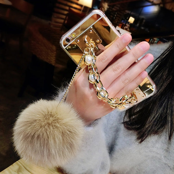 Fluffy Furball Luxury Phone Mirror Case - woven-trends