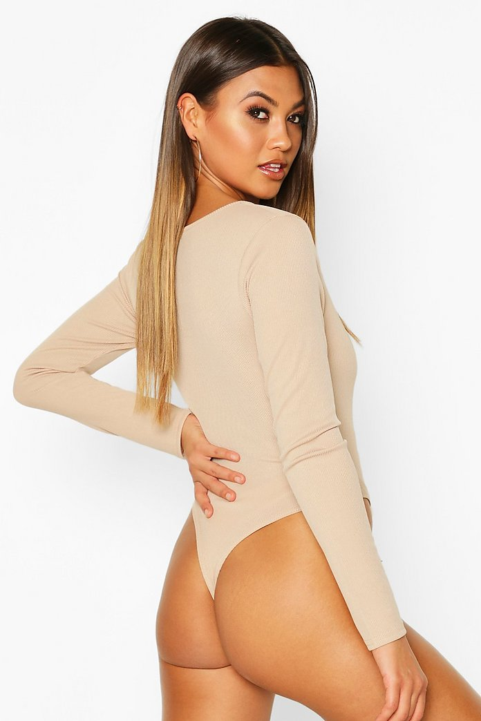 Maleah Duo V Neckline Knitted Bodysuit-Woven Trends