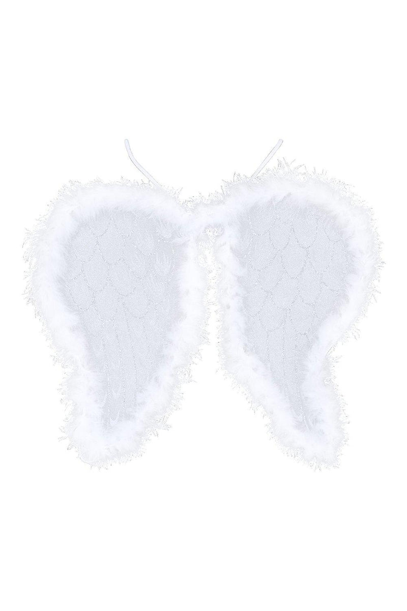 Mollie White Angel Feather Detail Wings - Woven Trends