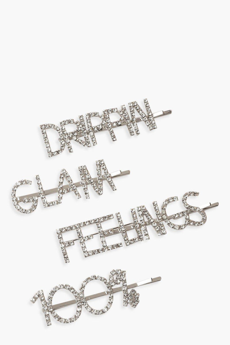 Sarah 4 Pack Diamante Slogan Hair Slides - Woven Trends
