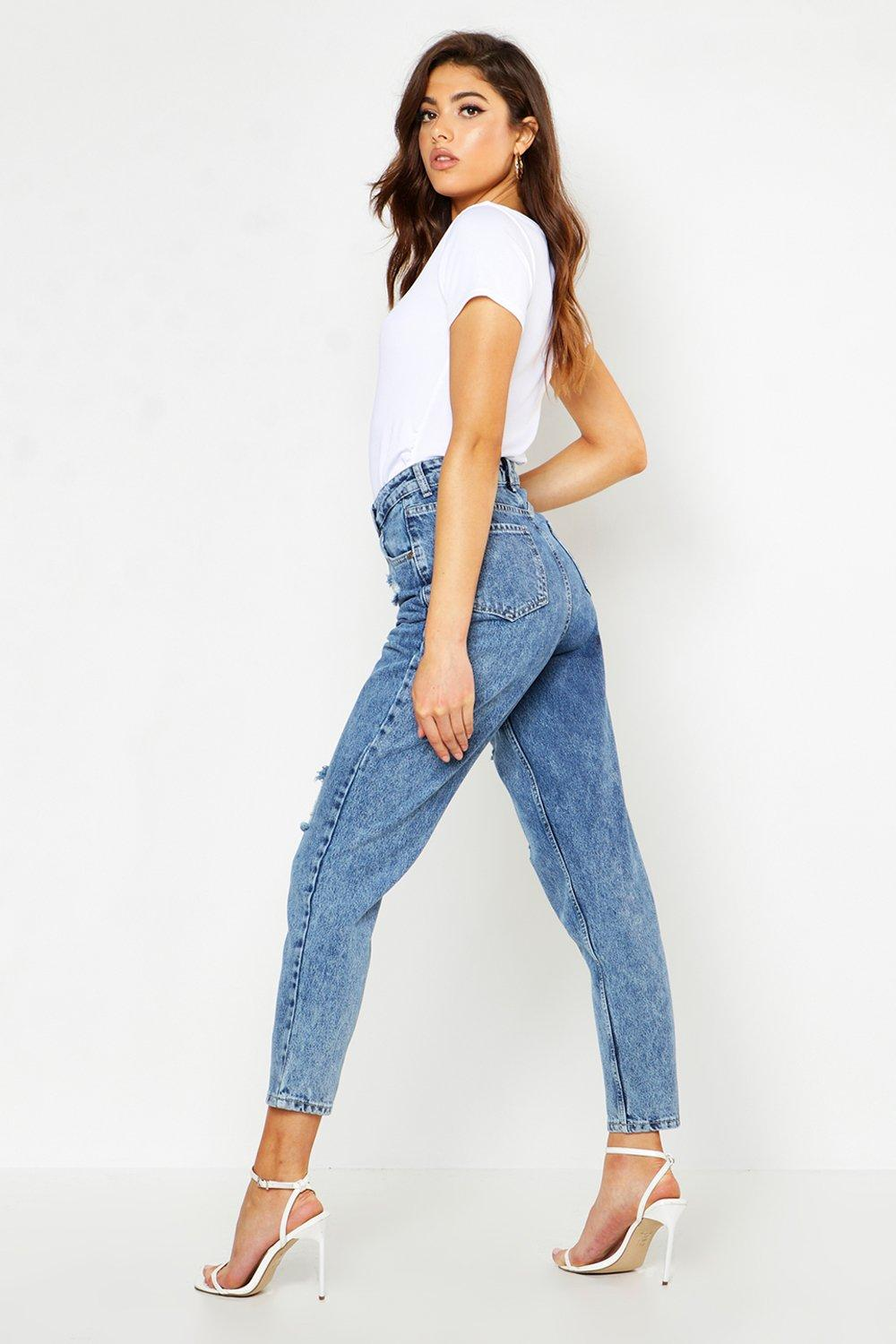 Tasha Acid Wash Effect High Waist Distressed Mom Jeans - woven-trends