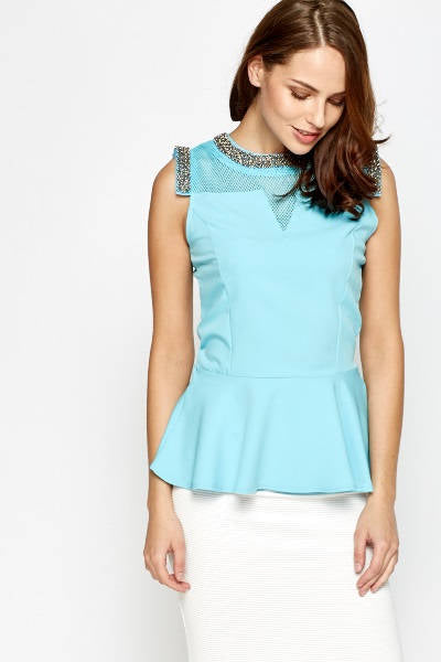 Embellished Neck Peplum Top - Peplum Top With Embellished Neck Detail Tops - Woven Trends Fashion Collection
