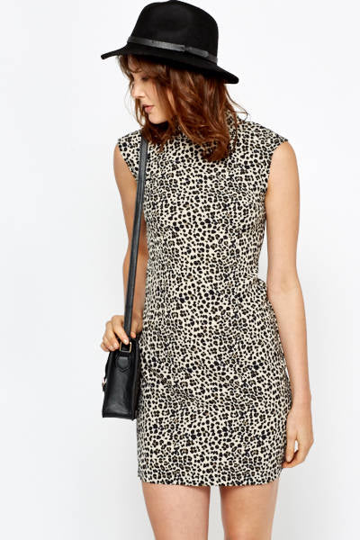 High Neck Leopard Print Dress - High Neck Leopard Print Dress Dresses - Woven Trends Fashion Collection