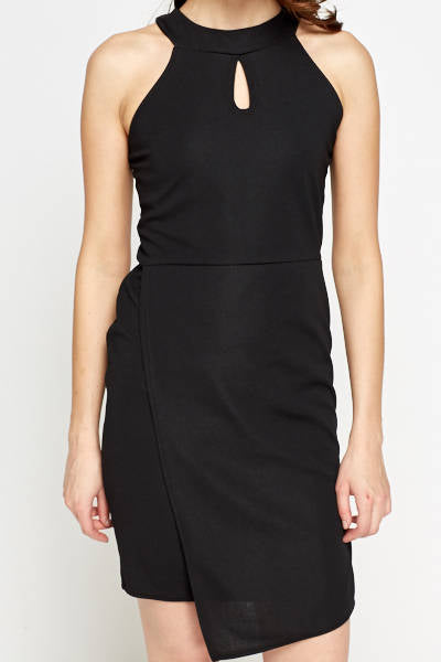 Oval Neck Overlay Black Dress - Overlay Wrap Dress - Woven Trends