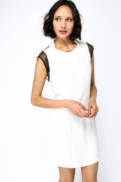 Bow Metal Bar Neck Shift Dress - Metal Trim Neck Shift Dress Dresses - Woven Trends Fashion Collection