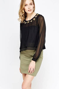 Encrusted Neck Black Crop Top - Encrusted Black Top With Petals Details Woven Trends