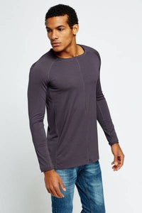 Contrast Stitched Long Sleeve T-Shirt Woven Trends