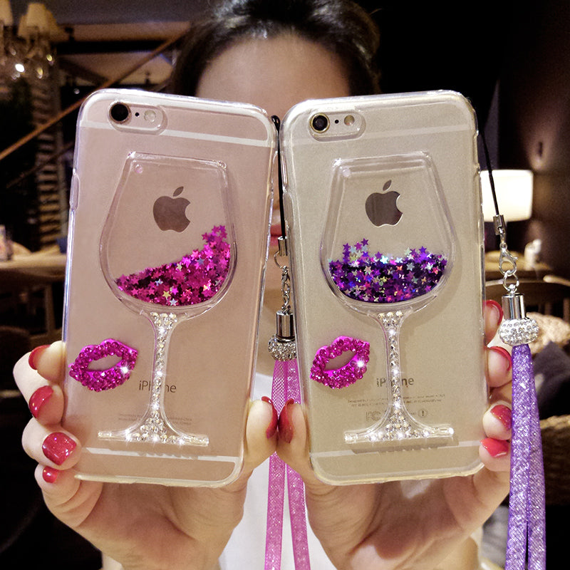 Glitter Diamond Wine Cup Detail Phone Case & Strap - Phone Case & Strap Accessory Accessories - Woven Trends Fashion Collection
