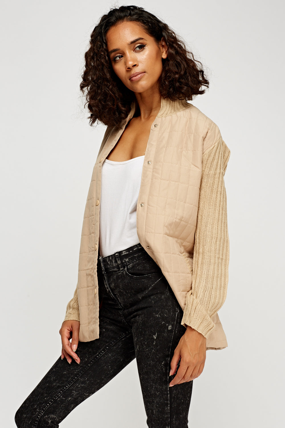 Priscilla Light Knitted Sleeve Contrast Jacket - woven-trends