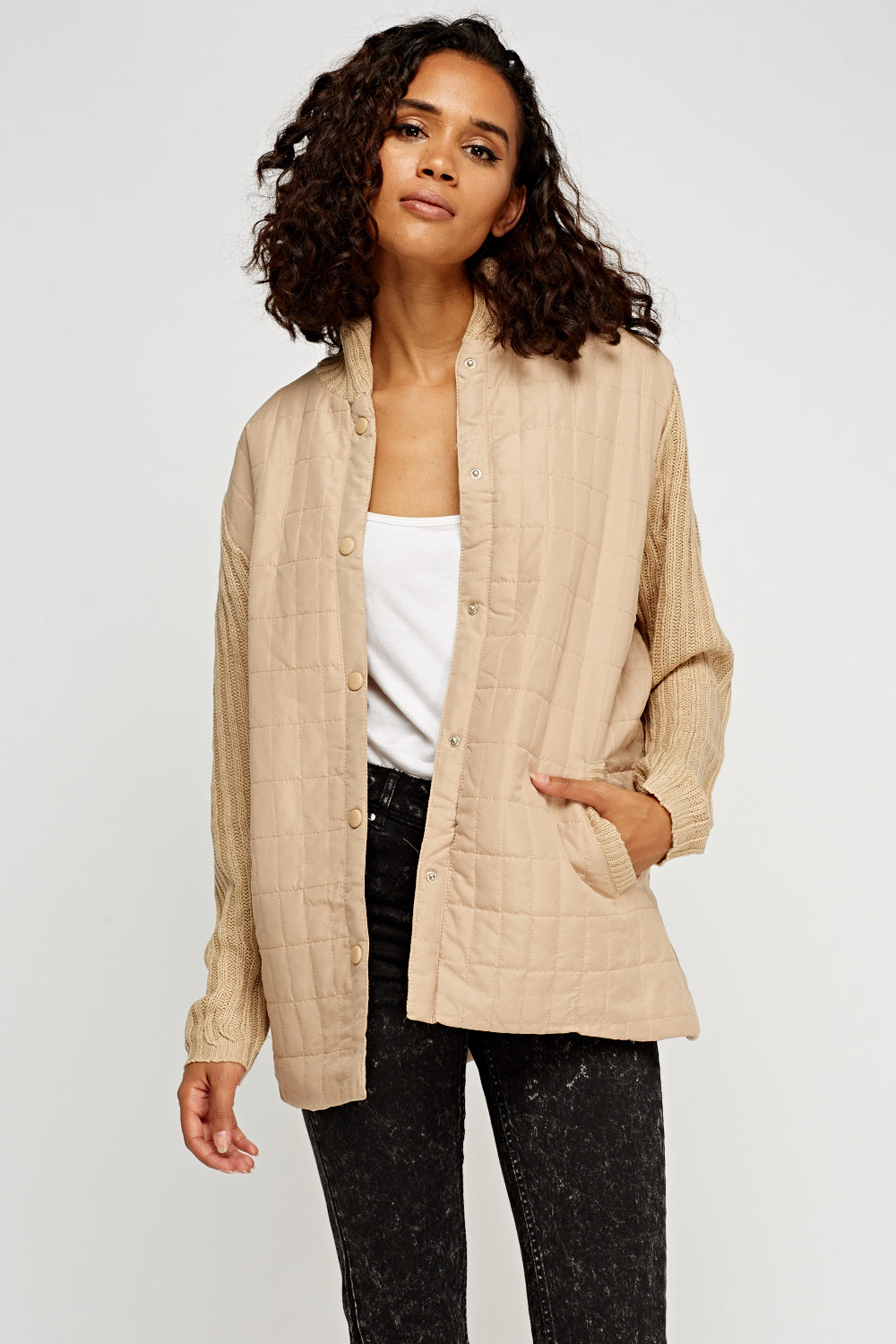 Priscilla Light Knitted Sleeve Contrast Jacket - Woven Trends