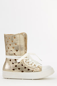 Betty Forester Laser Cut High Top Metallic Trainers - Woven Trends