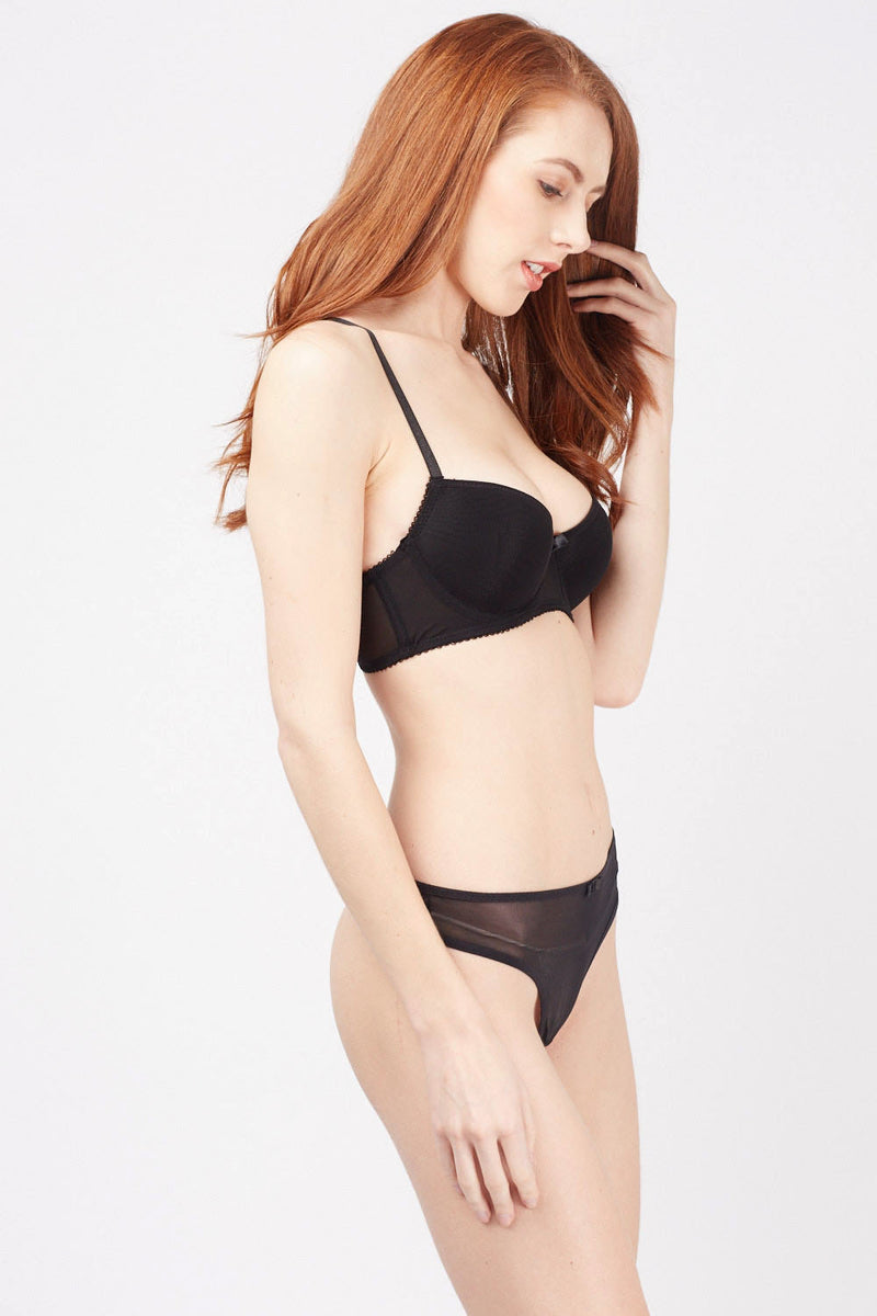 Jaylen Mesh Overlay Push Up Bra and Panties Set - Woven Trends