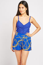 Aleigh Chain Print Casual Shorts-Woven Trends
