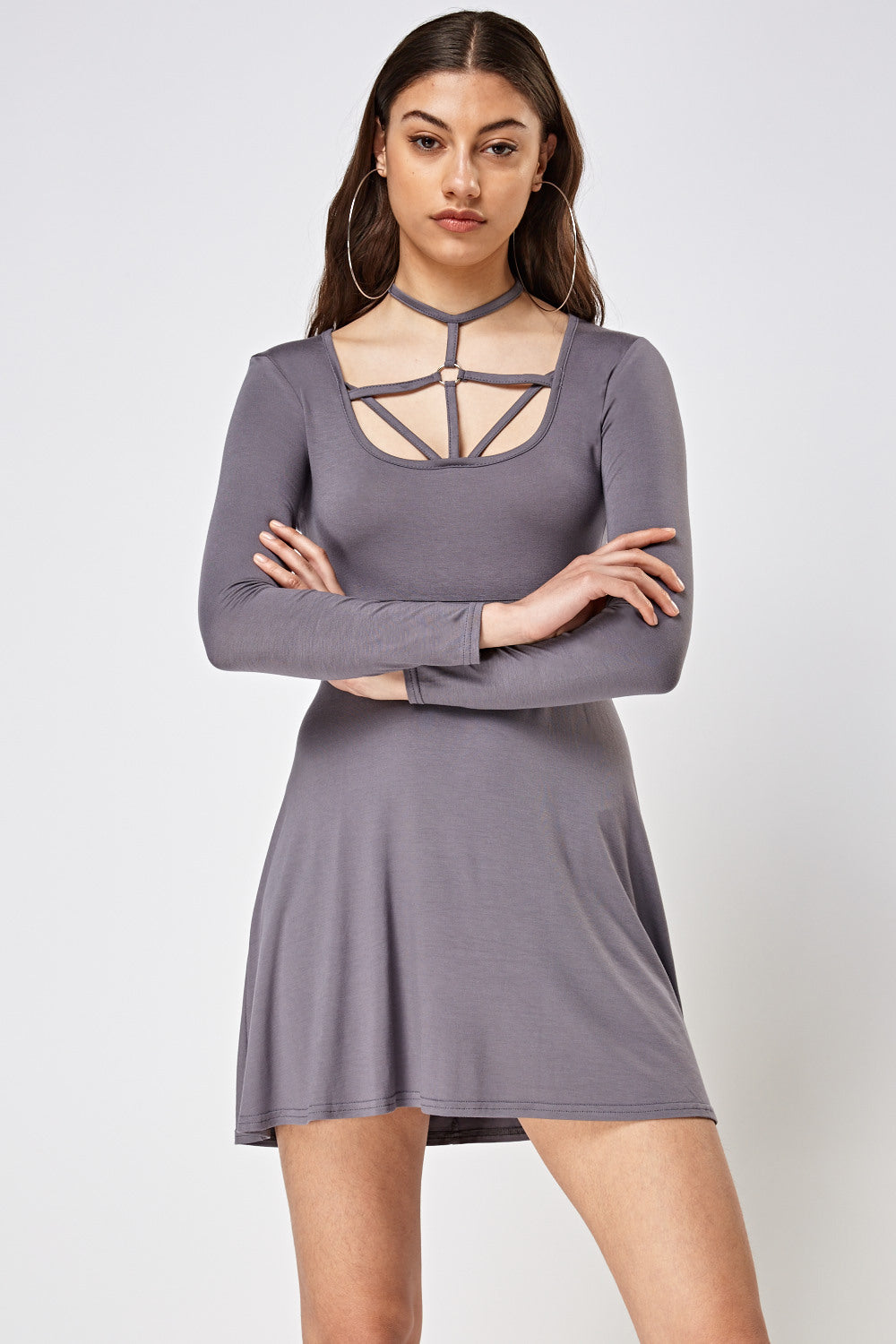 Meg Petite Detailed Front Long Sleeve Dress - woven-trends