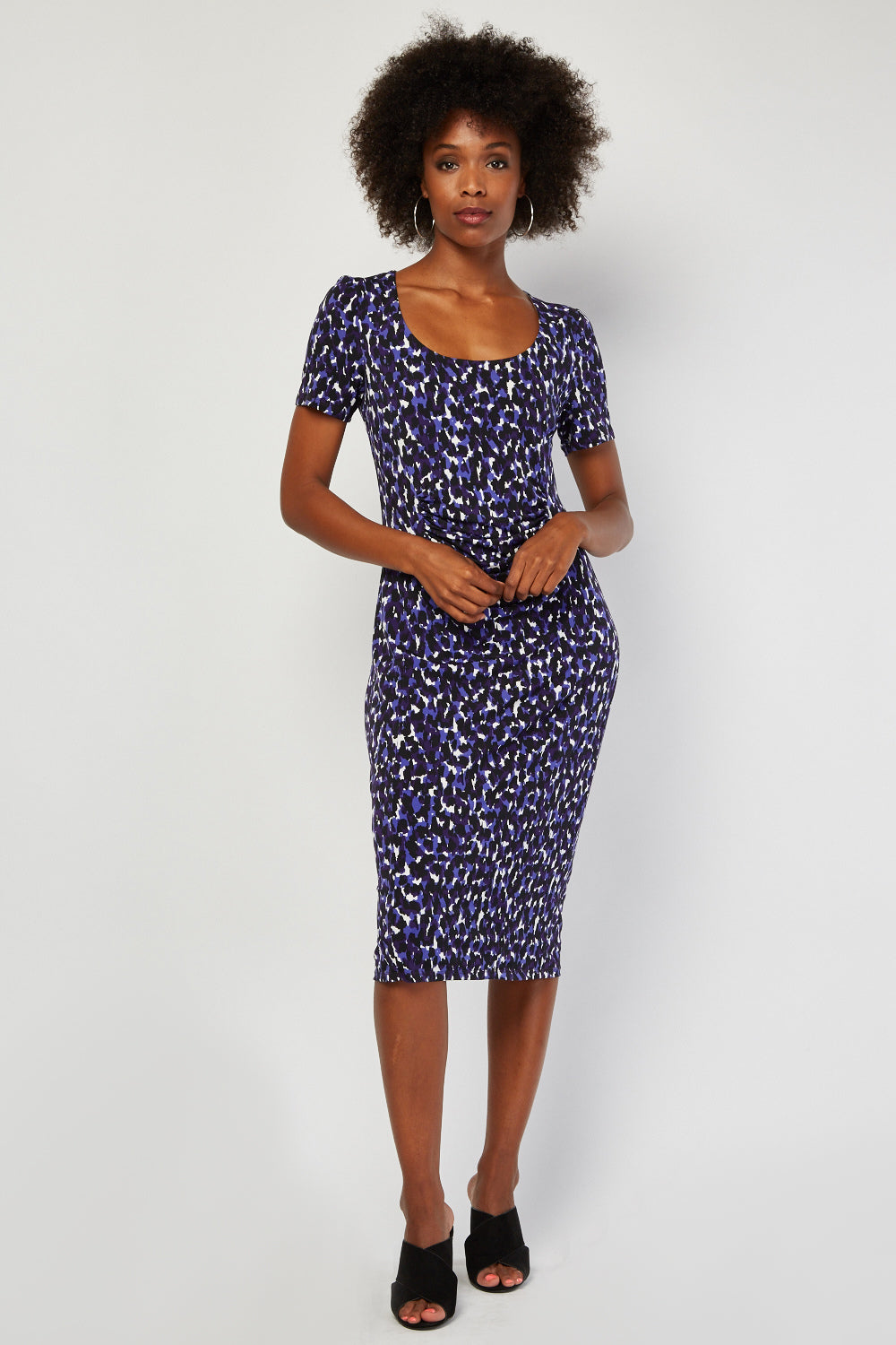 Majorie Speckled Print Draped Petite Dress - woven-trends