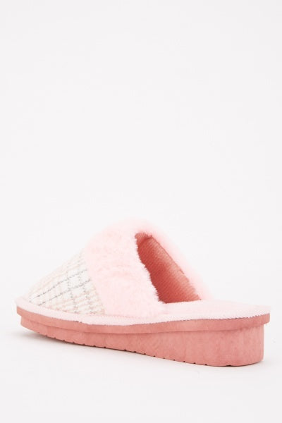 Amma Plaid Fluffy Trim Slippers