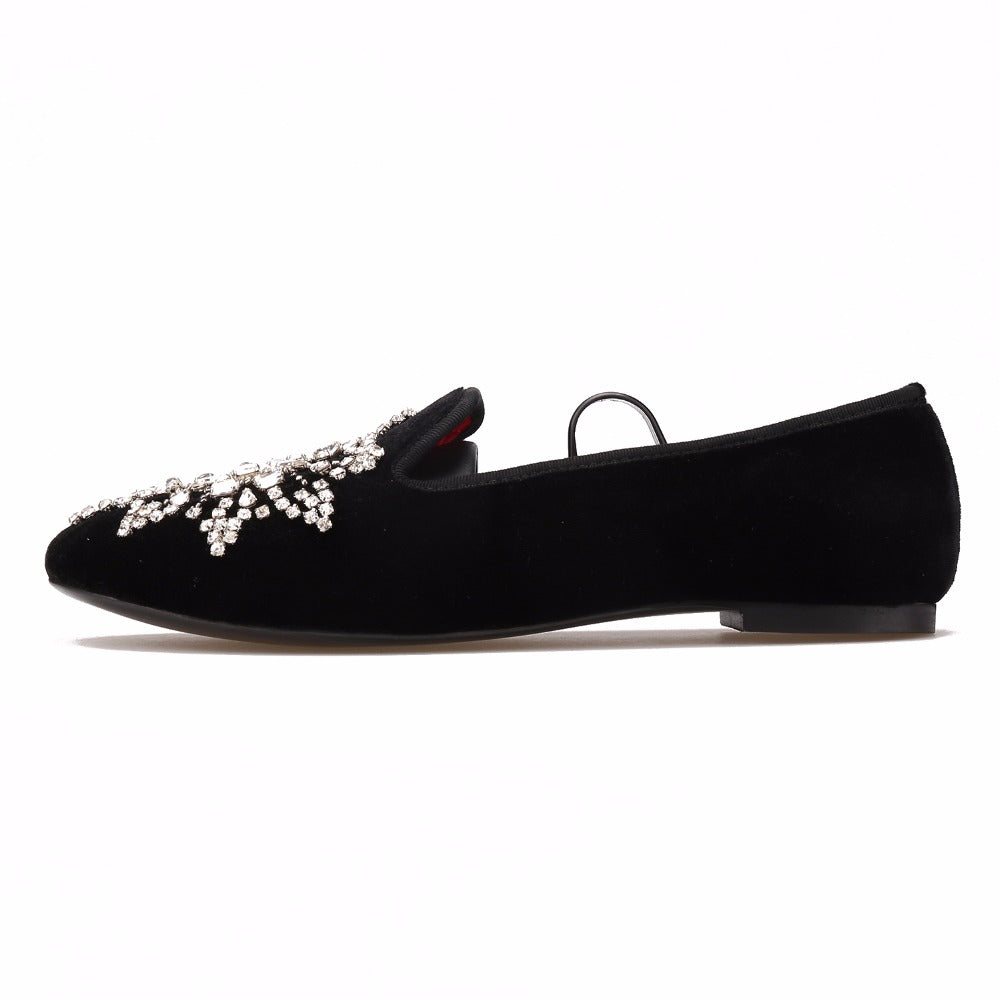 Handmade Diamante Floral Flat Shoe - Flat Black Shoe Diamante Detailed Woven Trends