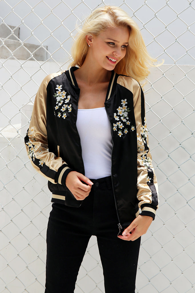 Bomber Jacket Vintage Swan Embroidery - Embroidery Detail Bomber Jacket Reversible Coats & Jackets - Woven Trends Fashion Collection