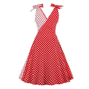 Vintage Style 1950's Polkadot Dress - Red Contrast Bowknot Sleeves Dress Dresses - Woven Trends Fashion Collection