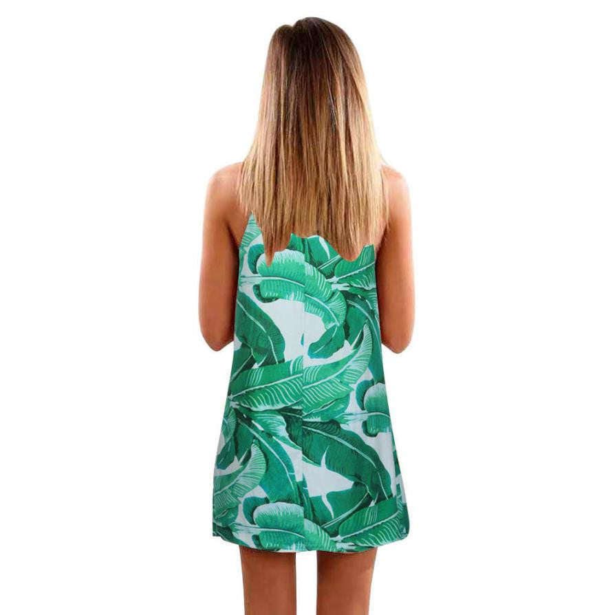 Clare Palm Leaf Print Dress Woven Trends