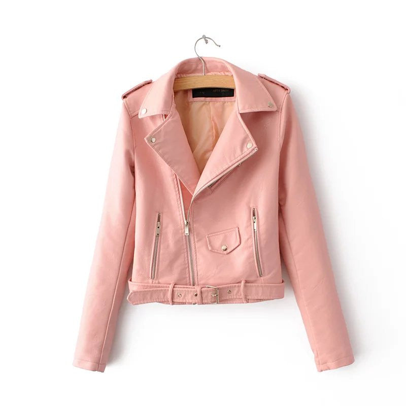 Belted Jacket Faux Leather Zipper Detail - PU Leather Jacket Folded Neck Woven Trends