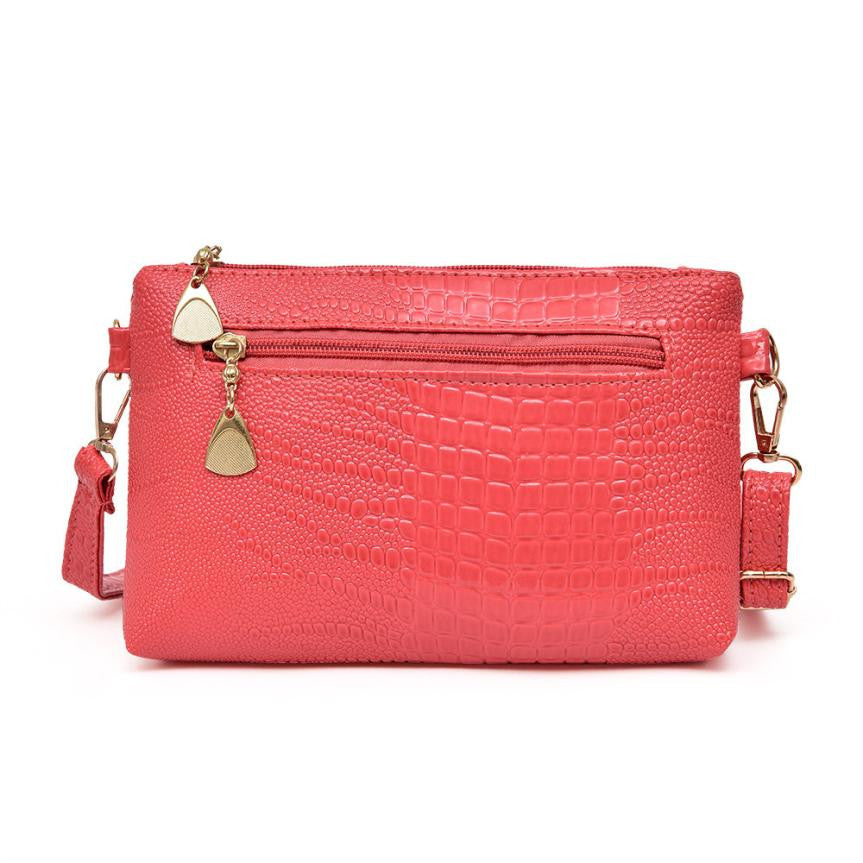 Sarah Crocodile Pattern Messenger Shoulder Handbag