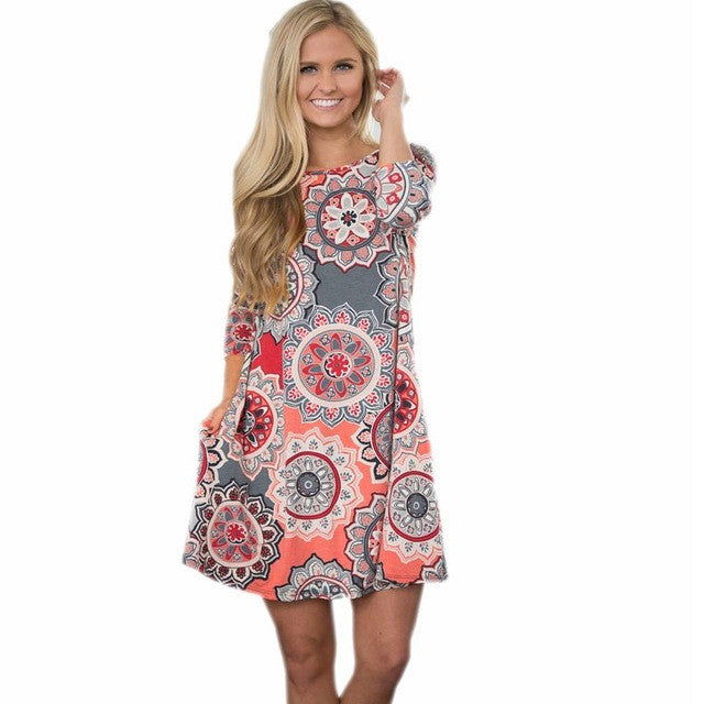 Mariah Evening Floral Print Beach Dress