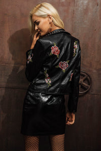 PU Leather Jacket Casual Flower Embroidery Jacket - Street Wear Leather Jacket Zipper Closure