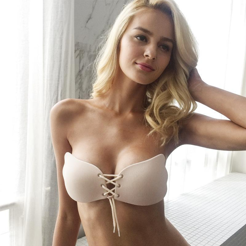 Spandex Strapless Petal Lift Bra - Strapless Sexy Lace Front Bra Lingerie - Woven Trends Fashion Collection