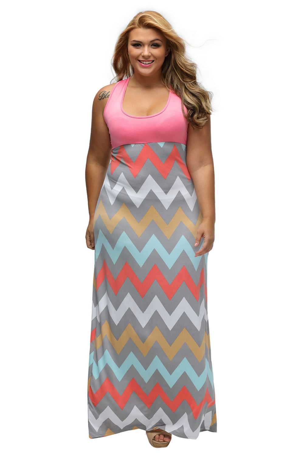 Plus Jersey Zigzag Print Maxi Dress - Casual Sleeveless Top Maxi Dress Dresses - Woven Trends Fashion Collection