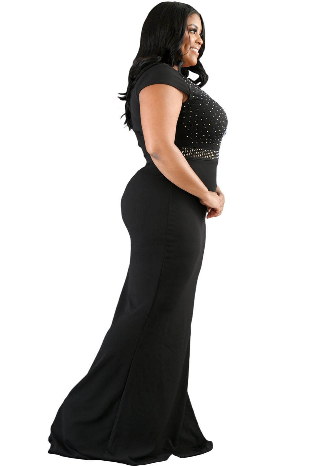 Black Rhinestone Front Detail Scalloped Neckline Plus Dress - Scalloped Bodice Maxi Dress Woven Trends