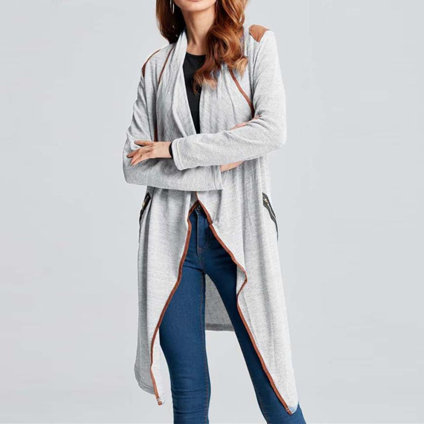 Open Shawl Knitted Coat Contrast Edge Trim - Vintage Knitted Long Cardigan Size Zip Pockets - woven-trends