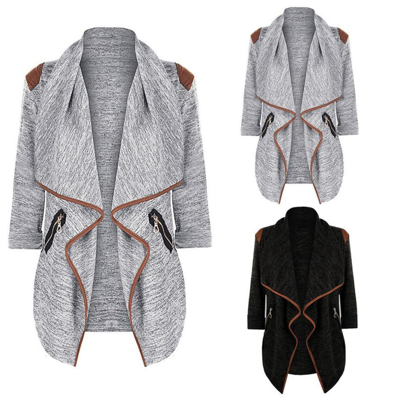 Open Shawl Knitted Coat Contrast Edge Trim - Vintage Knitted Long Cardigan Size Zip Pockets Coats & Jackets - Woven Trends Fashion Collection