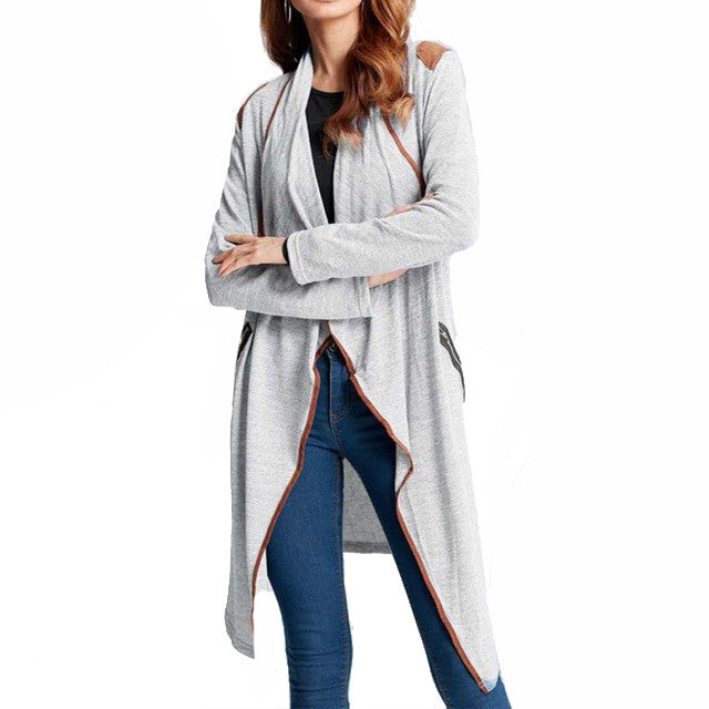 Open Knitted Duster Shawl Contrast Edge Trim - Vintage Knitted Long Cardigan Size Zip Pockets Coats & Jackets - Woven Trends Fashion Collection