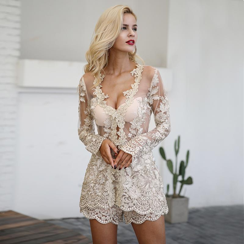Lace Trim See Through Bodice Elegant Romper - Backless Plunge Neck Two Piece Playsuit Jumpsuits & Playsuits - Woven Trends Fashion Collection