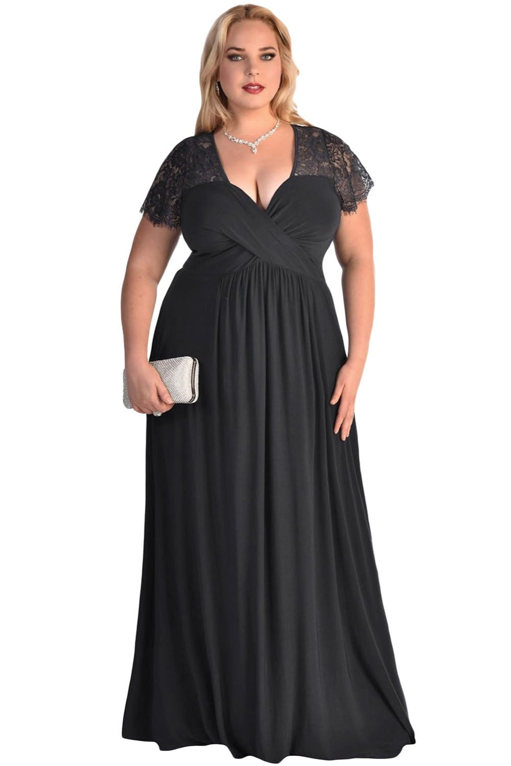 Plunge Lace Maxi Dress - Plus Size Gown Dress