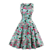 Swing Dress Flower Print Style - Sleeveless Luxury Vintage Dress