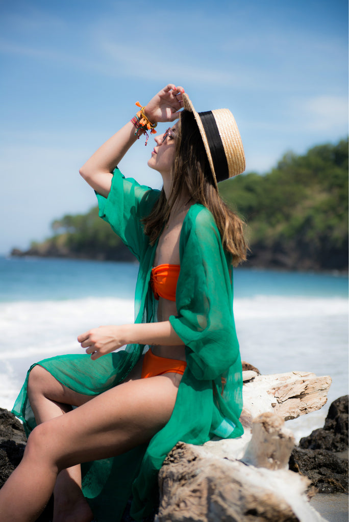 Chiffon Cover Up Beachwear - Light Material Beachwear Tops - Woven Trends Fashion Collection