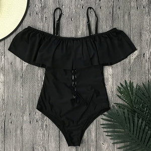 Sexy Ruffle Trim One Piece Swimsuit - Lace Up Front Monokini Swimwear - woven-trends