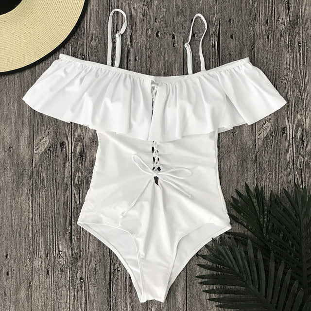 Sexy Ruffle Trim One Piece Swimsuit - Lace Up Front Monokini Swimwear Lingerie - Woven Trends Fashion Collection