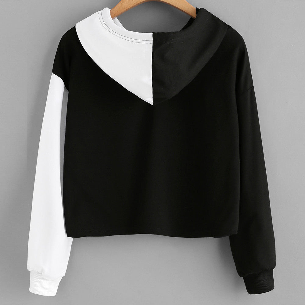 Patchwork Dual Face Long Sleeve Crop Hooded Pullover Top
