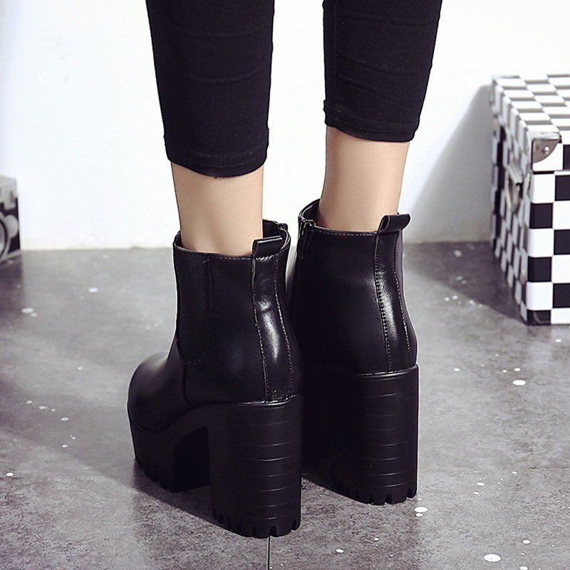 Block Heel Platform Leather Pump Boot Shoes Woven Trends