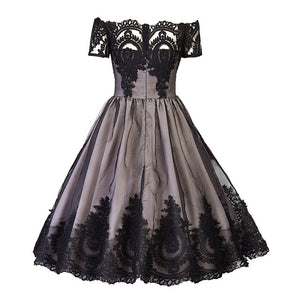 Swan Princess 1950's Vintage Patchwork Dress - Retro Backless Lace Mesh Dress Short Sleeved - woven-trends