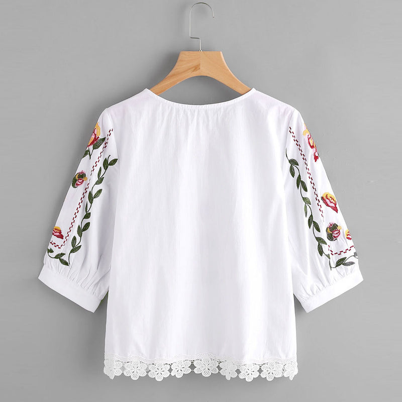 Floral Lace Printed Casual Blouse Top Woven Trends